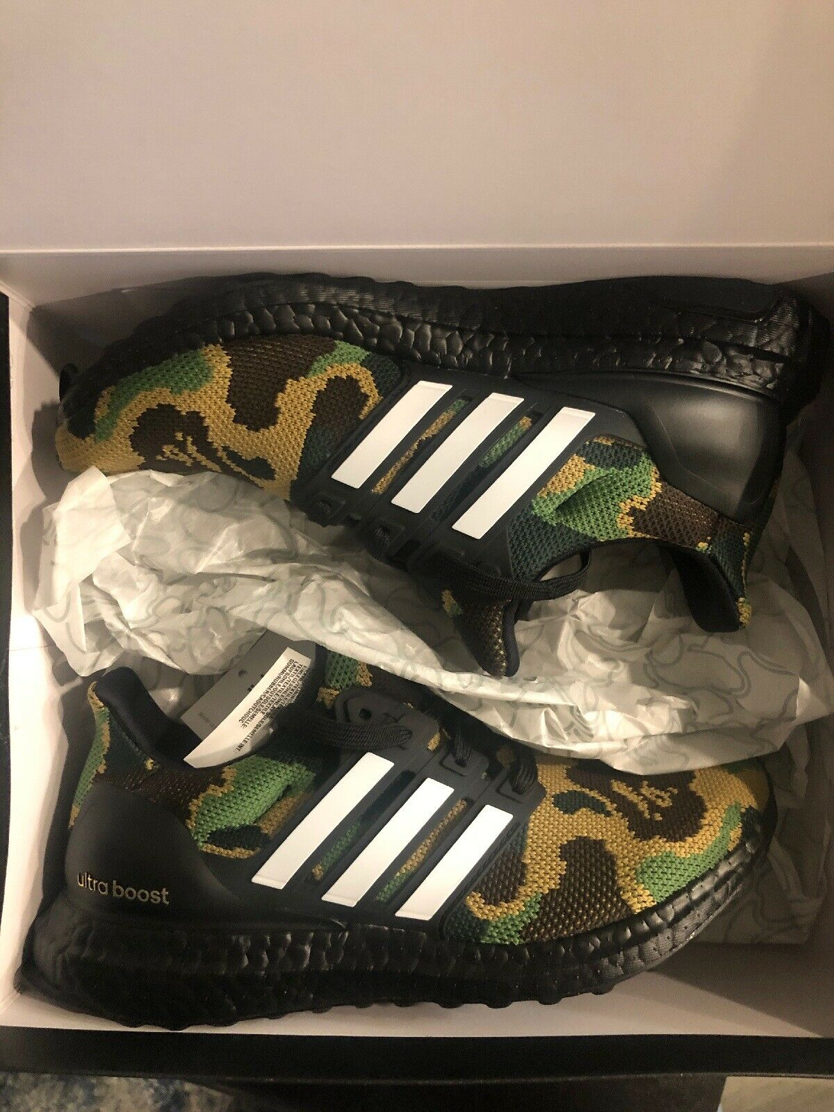 Bape x Adidas Ultra Boost 4.0 Green Camo Super Bowl F35097 size 4.5 In Hand