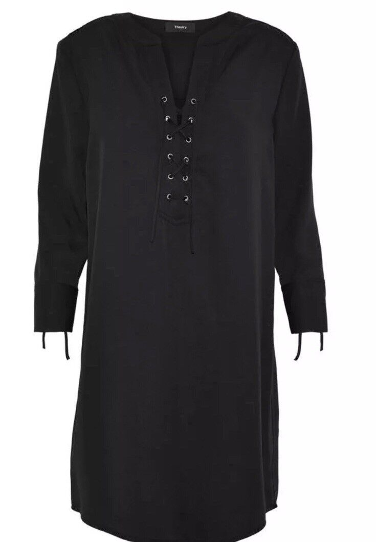 NWT Theory Jullitah R2 Shirt Shift Dress schwarz Lightweight Tencel Sz4