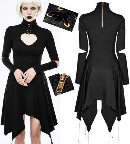Robe asymétrique gothique punk lolita reine de coeur laçage steampunk PunkRave N