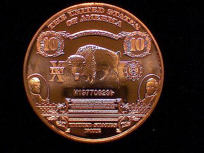 1901 $10.00 UNITED STATES NOTE Bison   #48 1 oz Copper Round