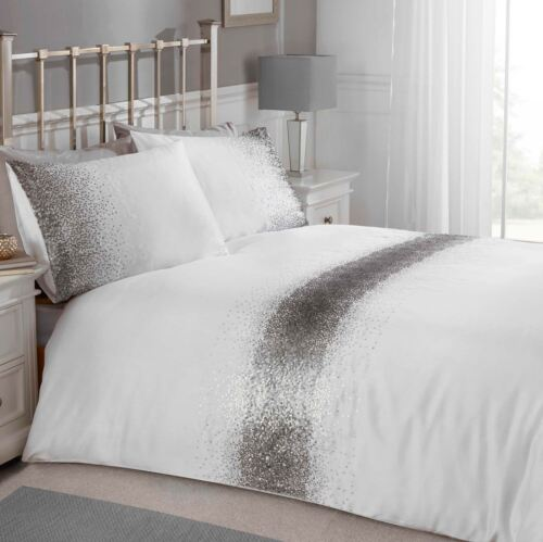 SHIMMER SEQUIN DOUBLE DUVET COVER SET WHITE SILVER BEDDING ADULTS NEW