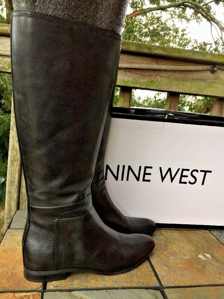 NINE WEST Leather OGARA Motorcycle STYLE Riding BOOTS Knee High Women Shoes Sz 8