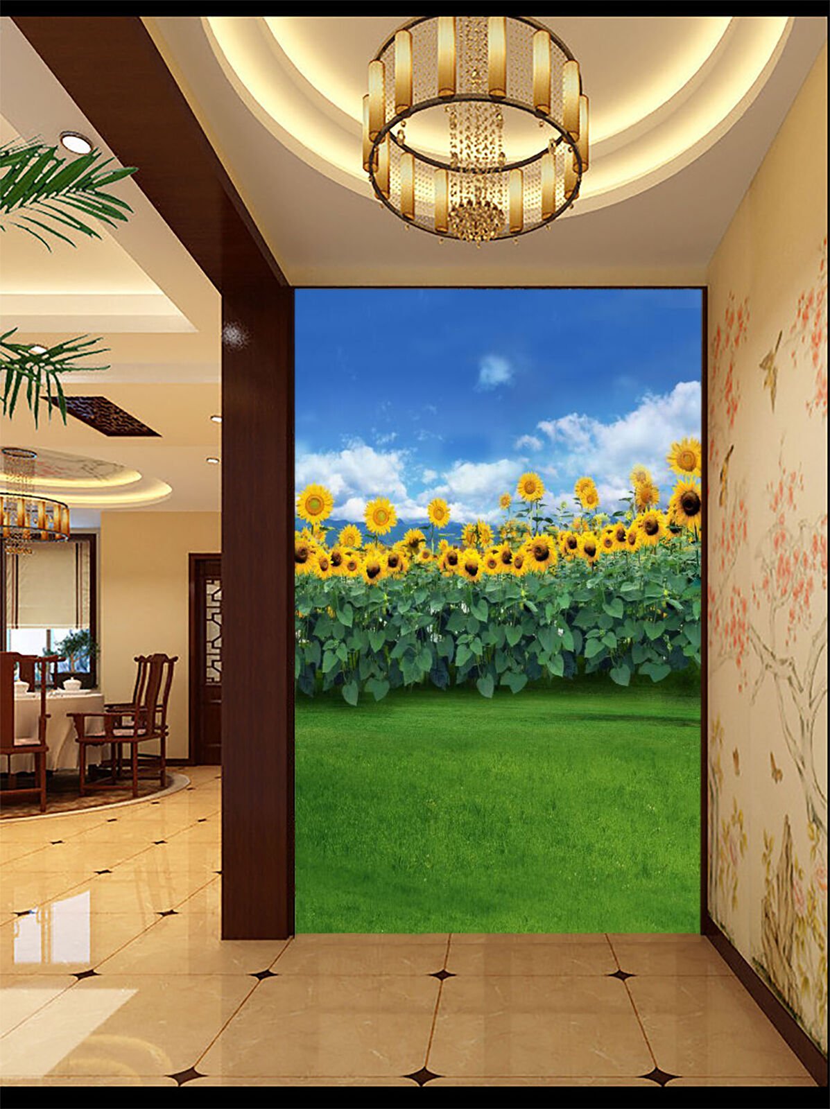 3D Grass, sunflower 36 Wand Papier Wand Drucken Decal Wand Deco Innen Wand Murals