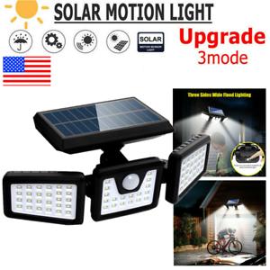 Outdoor 100COB 74LED Solar Motion Sensor Light Garde Home Wall Lamp Waterproof