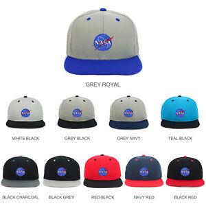 c3d510f7084 Youth Kid's Small NASA Insignia Patch Flat Bill 2-Tone Snapback Cap ...