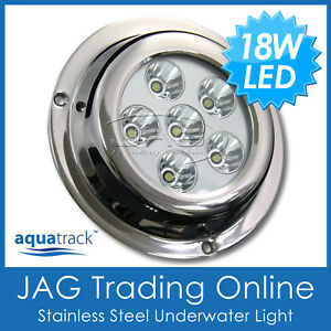 Stainless Steel Round 9 Cool White LED Underwater Boat Light Pair FO-3732-M2
