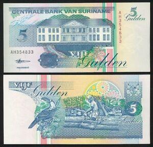 Suriname Surinam Billet 5 Gulden 1998 P136 Oiseau Neuf Unc Iiclxxq6-07221034-230308783
