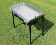 CONCORD 32x17 Stainless Steel Flat Top Griddle Grill w/ Manual Dble Burner Stand