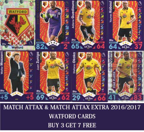 Topps Match Attax /& Match Attax EXTRA 2016 2017 choisissez votre Watford cards