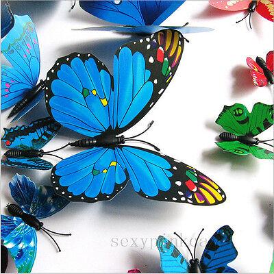 12pcs 3D PVC Butterflies DIY Butterfly Art Decal Home Decor Wall Mural Stickers