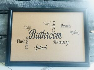 FRAMED RECYCLED RUSTIC PAGE BATHROOM WALL POP WORD ART PRINT PICTURE QUOTE SIGN