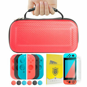 Nintendo Switch Red Carrying Case+2pc Tempered Glass+3 Color Set Joy-Con Case