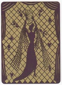 Playing-Cards-1-Single-Card-Old-Wide-SILHOUETTE-Dress-Stilettos-GIRL-LADY-Art