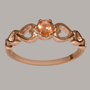 Solid-14ct-Rose-Gold-Natural-Citrine-Womens-Solitaire-Ring-Sizes-J-to-Z