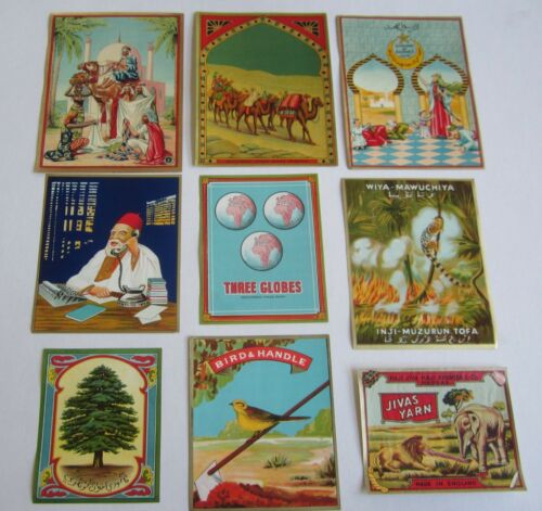 Arabic Market Bird Tree Camels Mosque Lot of 9 Old Vintage Fabric LABELS