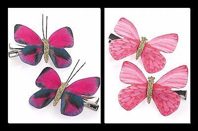 2x Niñas Mariposas Hair Clips Brillo Clips de las niñas pequeñas clips de mariposa