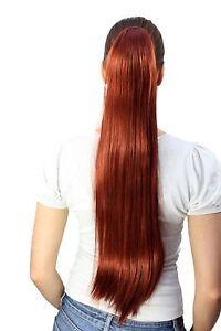 Postiche-Tresse-Rouges-Tres-Longs-Lisse-Epingle-a-Cheveux-Papillon-Env-70-Cm