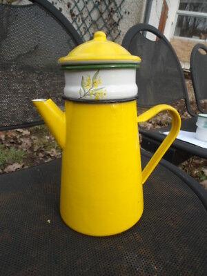 Cafetière filtre émaillée jaune 1,5 L  Neuf fonctionnel émail véritable Affaire!