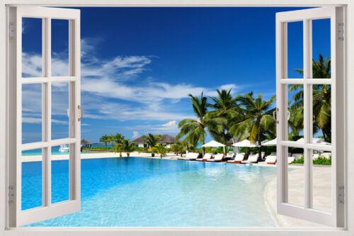 Window Wall Sticker Decal Vinyl 3D Tropical Beach Palm Tree home art room decor