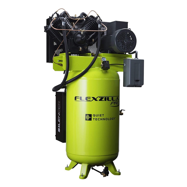Flexzilla FXS10V080V3-230 Air Compressor w  Silencer, 10HP, 80Gal, 230V