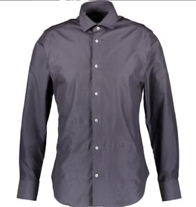 Genuine CRUCIANI Mens' Long Sleeve Cotton Shirt, Dark Grey, S M L