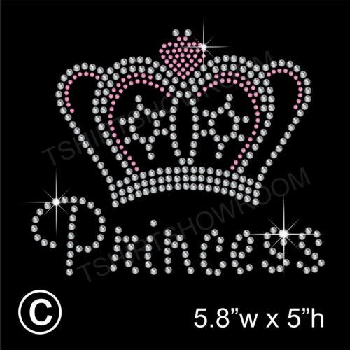 Free Gift Princess /& Crown Rhinestone Transfer Hotfix applique Iron on Motif