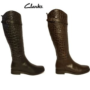 CLARKS-HOPEDALE-WISH-BLACK-amp-BROWN-CROC-EMBOSSED-LEATHER-KNEE-HIGH-BOOTS-LADIES