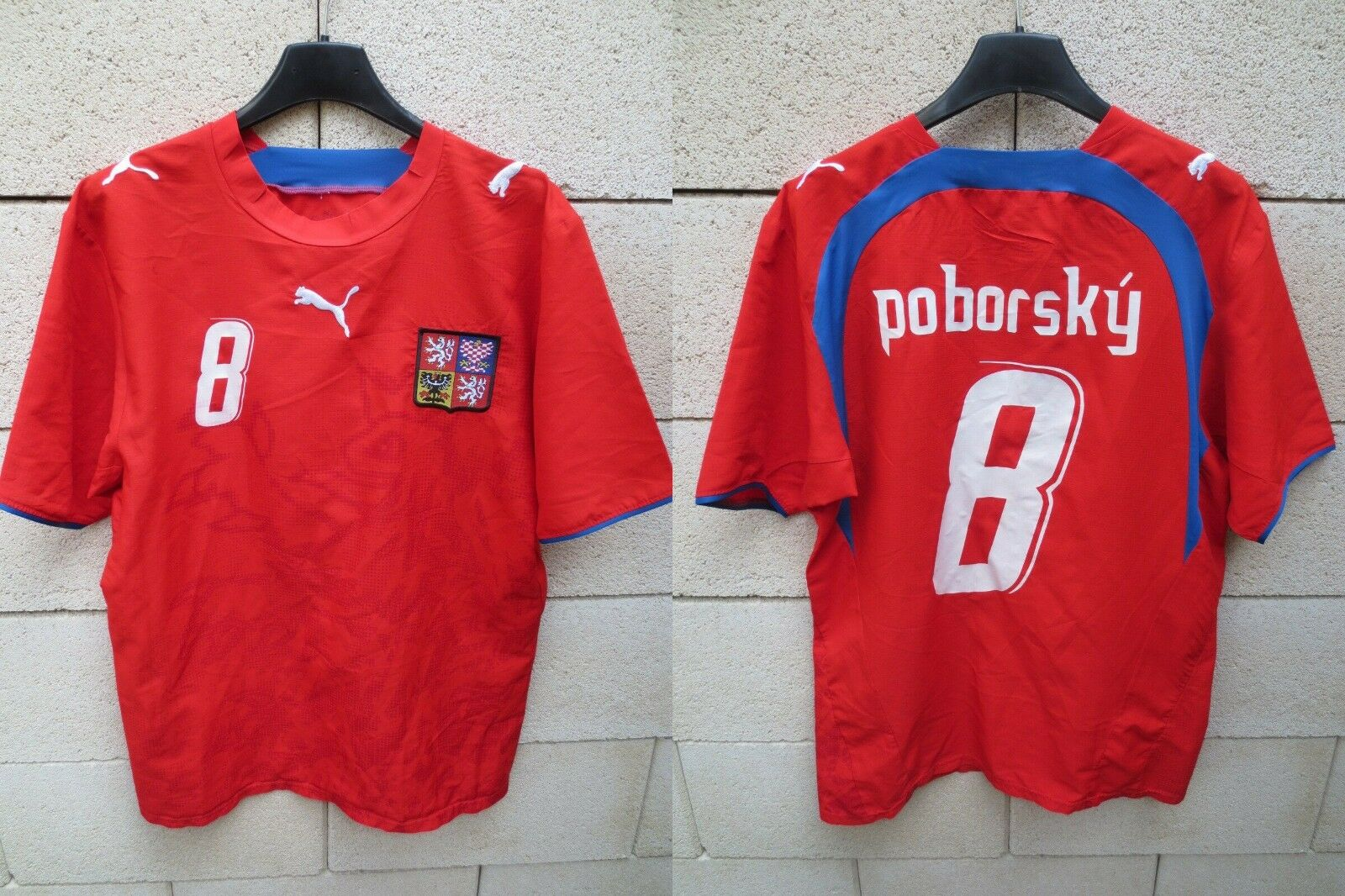 Maillot REPUBLIQUE TCHEQUE POBORSKY Puma shirt Czech Republic WC 2006 vintage S