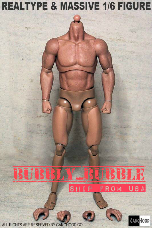 1 6 Emulated Muscular Body GangHood For Hot Toys Bane Arnold Head SHIP FROM USA