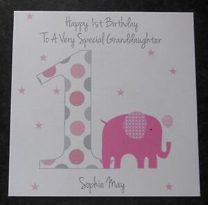 personalised girls 1st first birthday card daughter niece