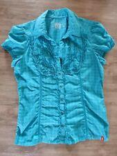XL blau mit Muster edc by Esprit Bluse Shirt Kurzarm Damen Gr XS 331 NEU