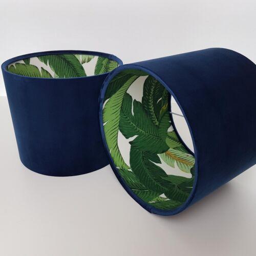 Abat-jour bleu marine velours rétro botanique feuilles Jardin de palmiers