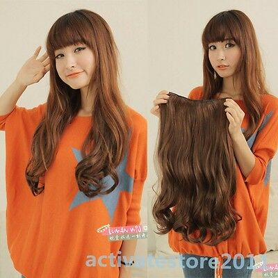 Hot Women One Piece Long Straight Wavy Wave Half Head Clip In Hair Extensions