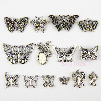 Tibetan Silver Butterfly Charms Pendants 14Styles-1 Or Mixed FB-10