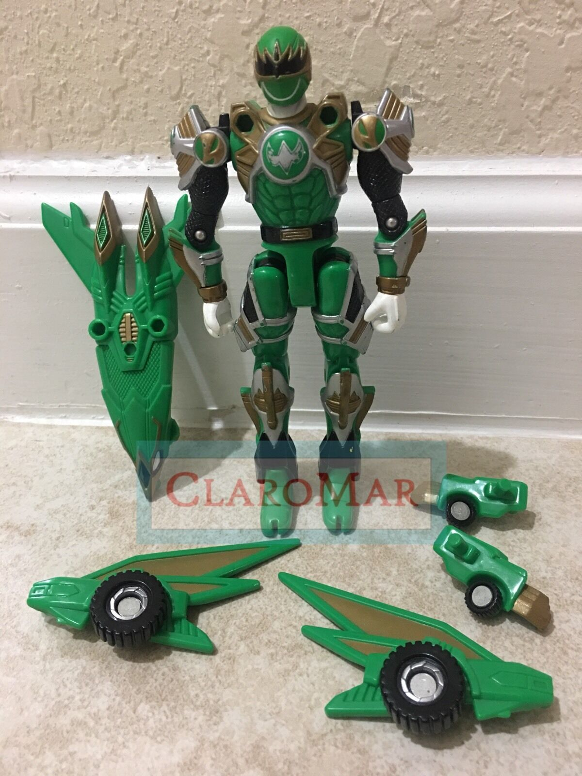 ☀️ 2002 Power Rangers Ninja Storm GREEN Samurai Turbo Turbo Turbo Tri-Battlized Figure RARE 825545
