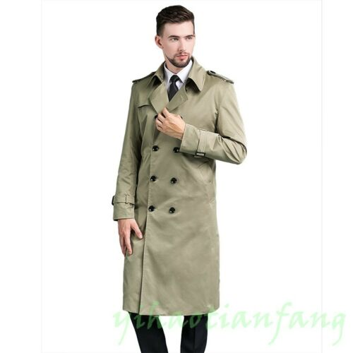 Double Trench Dress Coat Breasted British Mens Jacket Windbreaker Long Overcoat XwqxW4t