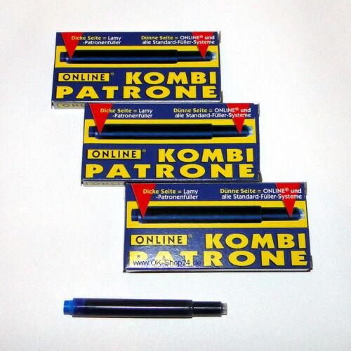 15 Stk Online Kombi Tinten-Patrone Großraumpatronen für Pelikan Lamy Königsblau