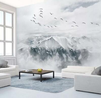 3D Snow Mountain Plane R02 Transport Wallpaper Mural Sefl-adhesive Removable Zoe