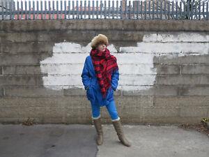 60er jahre damen jacke lang blau