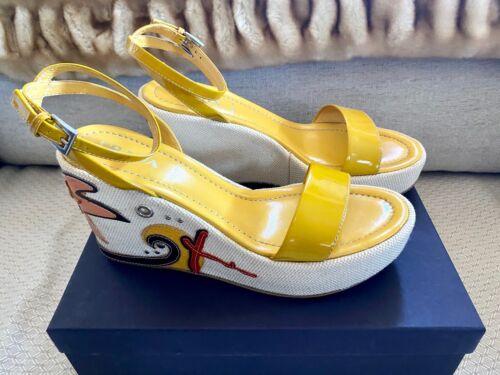 Prada Starfish Yellow Patent Leather Espadrille Pl