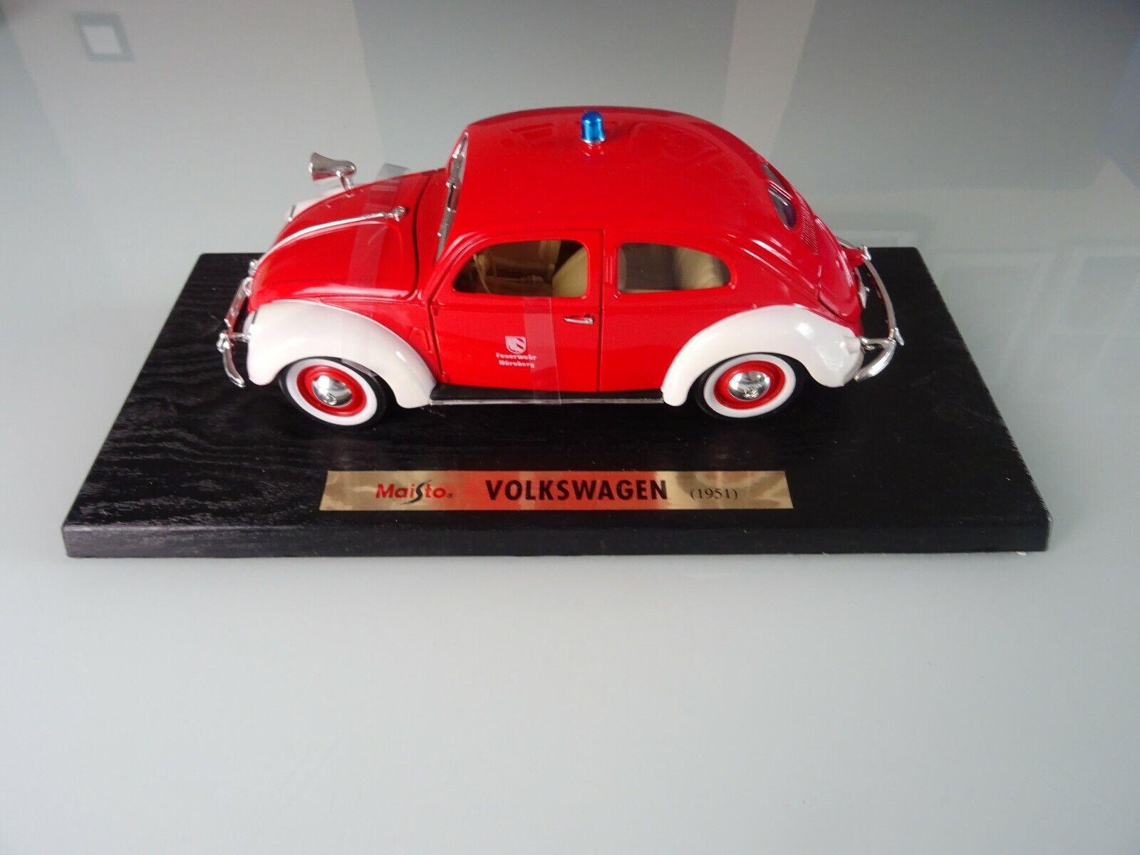 MAISTO 1 18 VW Volkswagen 1951 COCCINELLE POMPIERS Nuremberg neuf dans sa boîte box Nº 56005