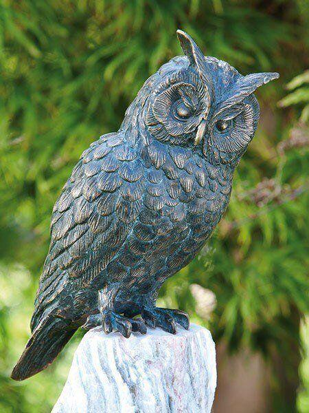 Bronzefigur Waldohreule H25cm Rottenecker Bronze Eule Uhu Kauz Vogel Dekoration