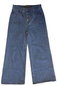 J. Crew Point Sur Womens 25x24 Button Fly Hi Rise Denim Blue Jeans Wide Leg Crop