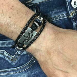 Bracciale-uomo-in-pelle-e-cuoio-braccialetti-intrecciati-foglia-marijuana-gangia