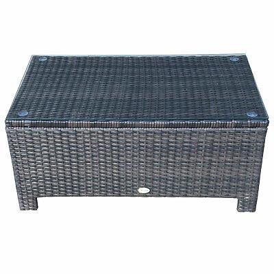 Outsunny Tavolino da Giardino Esterno Piano in Vetro Temperato 5mm 85 x 50 x 39 cm Rattan