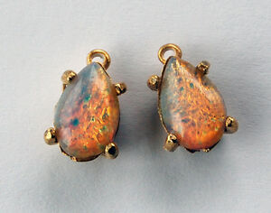 Vintage 2 pink faux fire opal glass bead pendants tear drop pear image is loading vintage 2 pink faux fire opal glass bead aloadofball Gallery