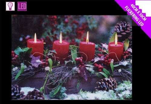 Festive Light Up LED Canvas Picture Christmas Candle Pine Wall Art Decorations