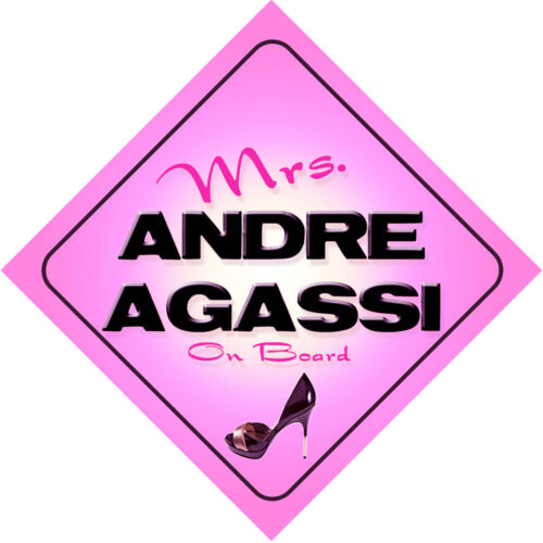 Mrs Andre Agassi on Board Baby Pink Car Sign