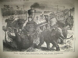 INDE-TRAIN-LOCOMOTIVE-ELEPHANTS-STEAMER-FRIGO-GRAVURES-LE-JOURNAL-ILLUSTRe-1876