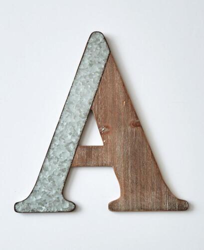 "/""A/"" MONOGRAM LETTER GALVANIZED WOODGRAIN FINISH DECORATIVE WALL HANGING"